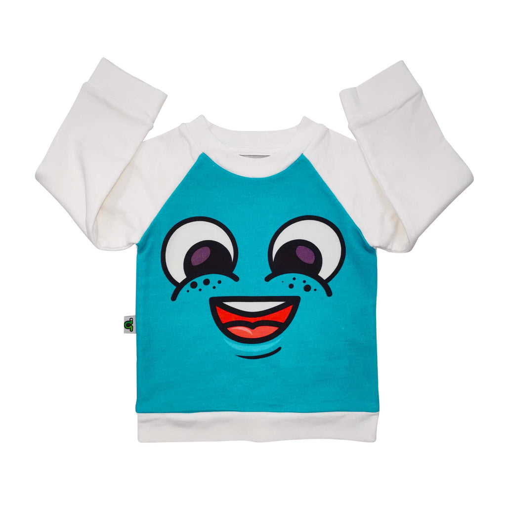 Long sleeve raglan sweatshirt printed with large-scale cartoon face with a big smile