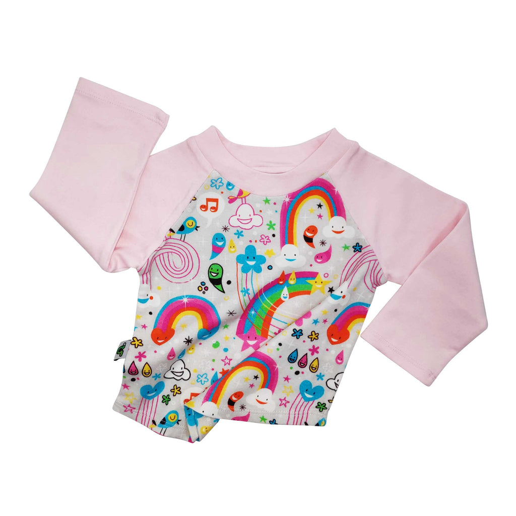 Raglan tee with all-over print of happy, cartoon rainbows, clouds, flowers and musical notes