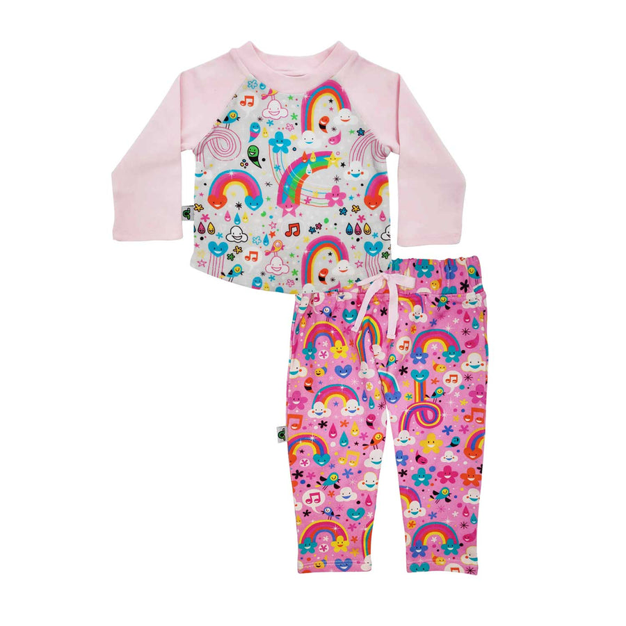 Raglan tee and French Terry joggers set with all-over print of happy, cartoon rainbows, clouds, flowers and musical notes