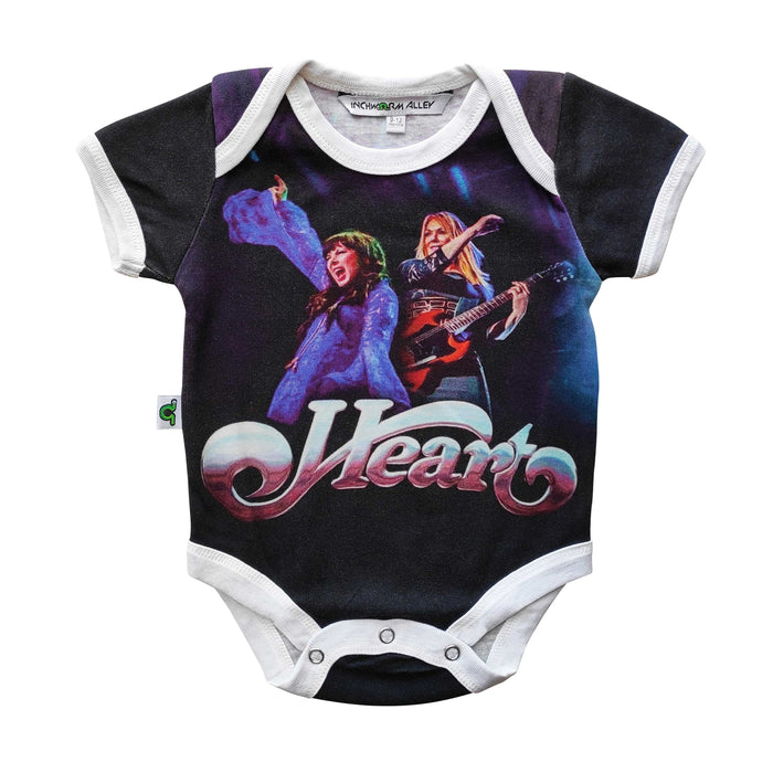 Short sleeve bodysuit onesie printed with an image of the band Heart
