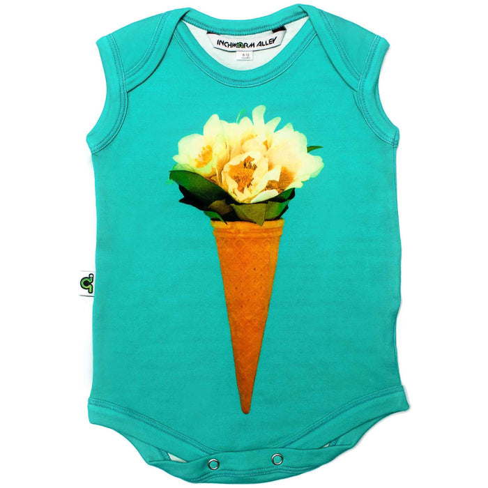 Front view of a tank bodysuit with flowers in an ice cream cone