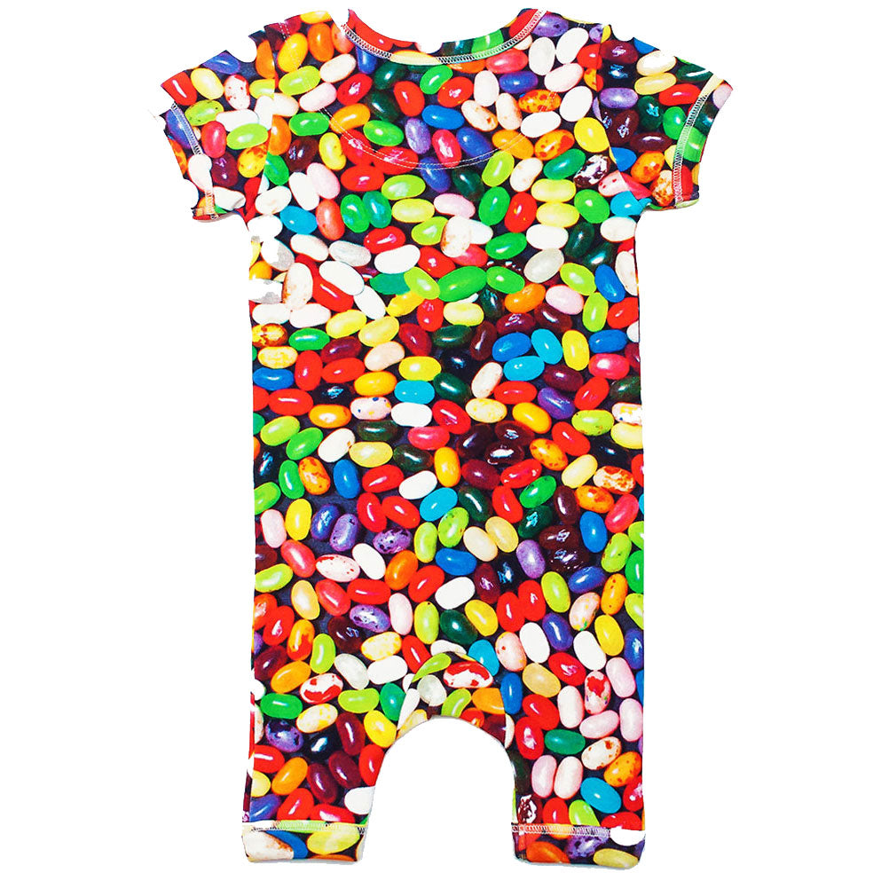 Back view of short sleeve romper with shorts and all-over print of multicoloured jelly beans
