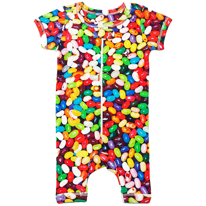 Front view of short sleeve romper with shorts and all-over print of multicoloured jelly beans