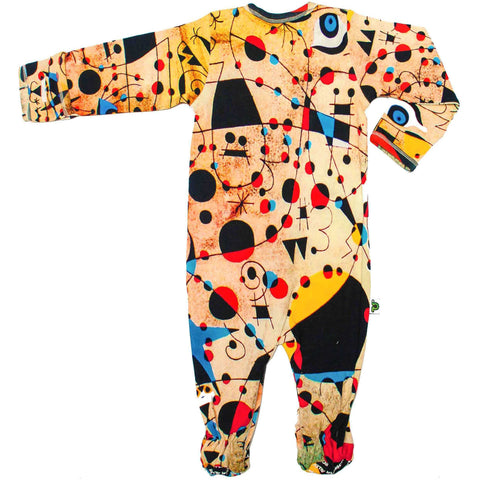 Back view of a long sleeve footie with a print of Joan Miro's painting, Constellations
