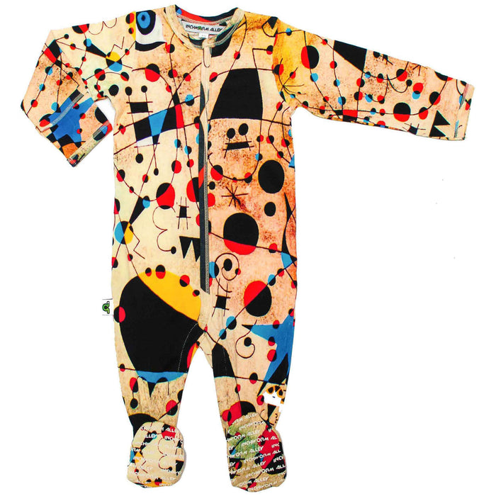 Front view of a long sleeve footie with a print of Joan Miro's painting, Constellations