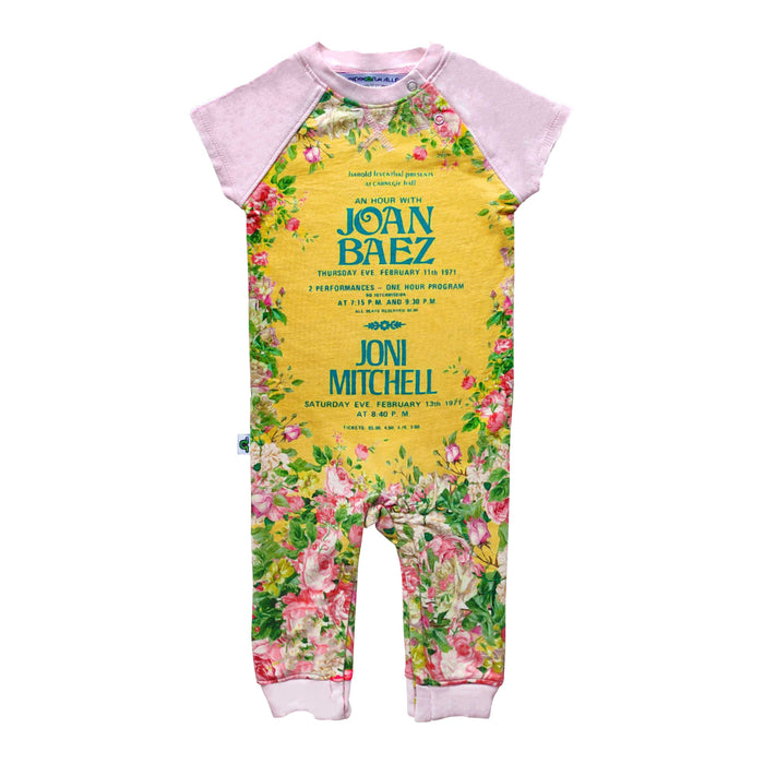 Raglan cut-off romper printed with a vintage concert poster for Joan Baez and Joni Mitchell surrounded by pink flowers