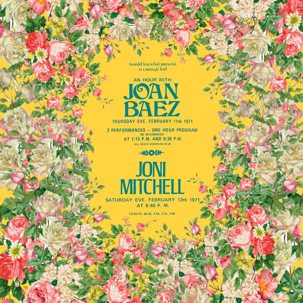 Image of a vintage concert poster for Joan Baez and Joni Mitchell surrounded by pink flowers