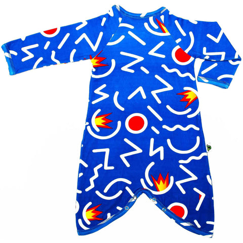 Back view of kimono wrap-front, drop-crotch romper with an abstract, primary-coloured design in the style of Keith Haring