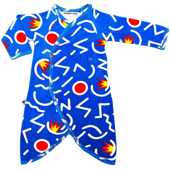 Front view of kimono wrap-front, drop-crotch romper with an abstract, primary-coloured design in the style of Keith Haring