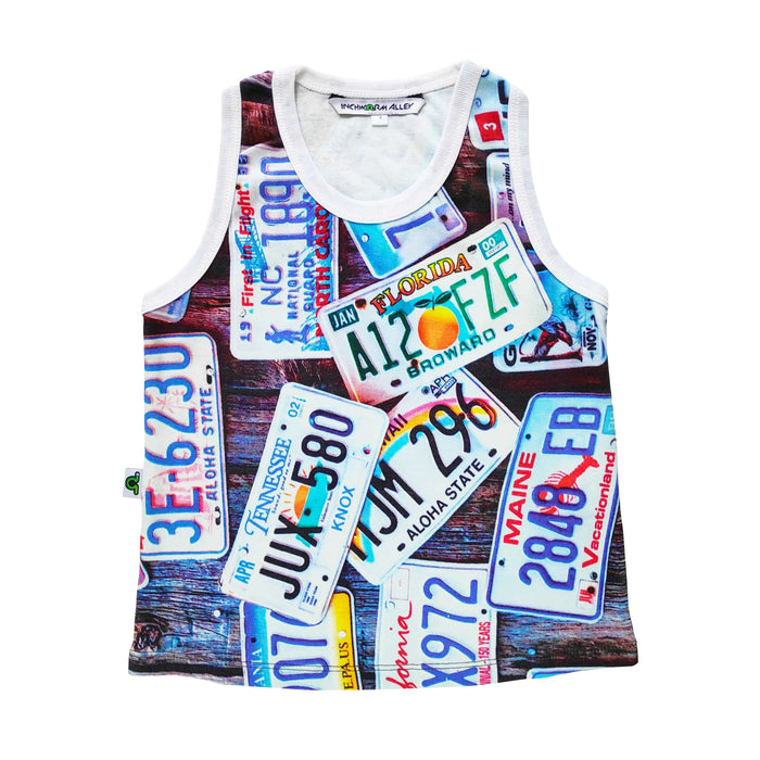 Tank top with image of various US license plates