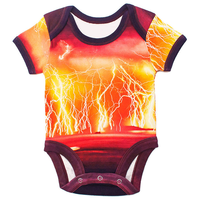 Front view of a short sleeve bodysuit printed with an image of a lightning storm