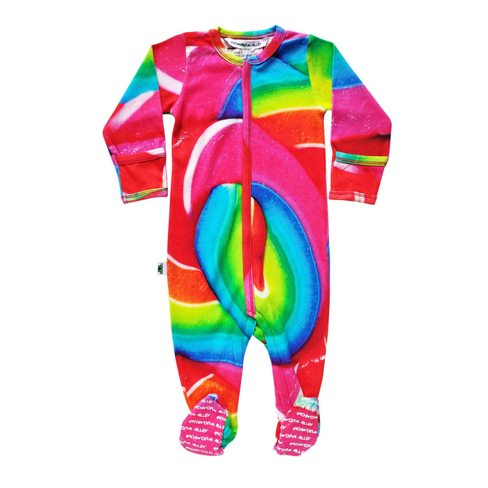 Long sleeve footie with zoomed in image of a multicoloured rainbow lollipop swirl