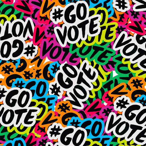 Image of multicolored #GOVOTE stickers