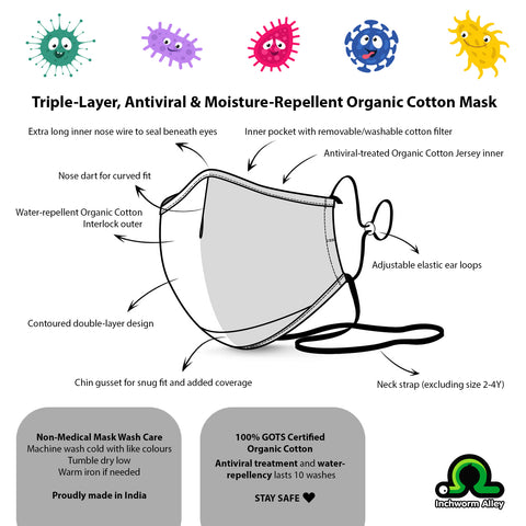 Organic Antiviral/Antimicrobial & Water Repellent Masks - 4 Sizes (PRE-ORDER, NOV DELIVERY)