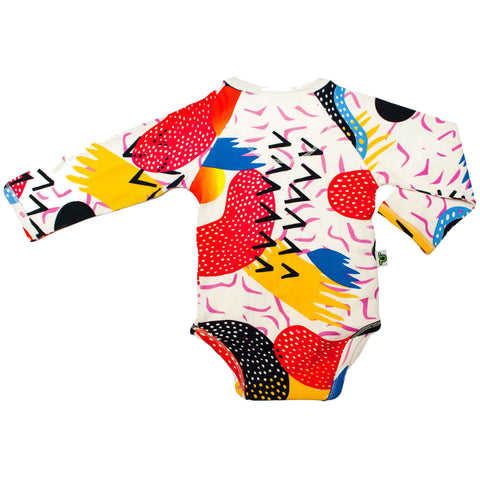 Back view of long sleeve bodysuit with kimono wrap front with a kitschy, pop art print design