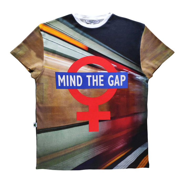 "Adult tee with image of a London underground subway superimposed with ""Mind The Gap"" and the symbol for female"