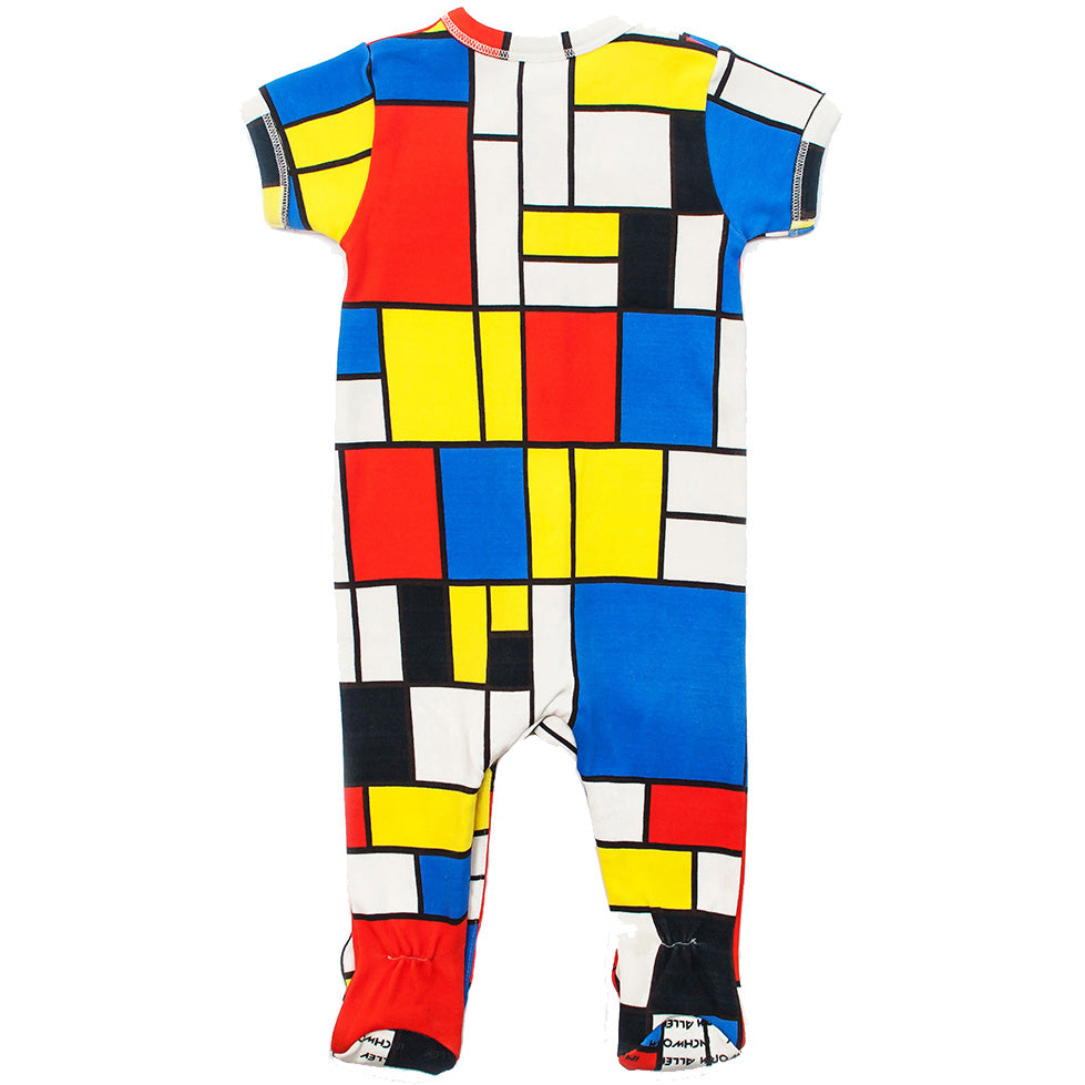 "Back view of short sleeve footie with all over print of Piet Mondrian's ""Composition II in Red, Blue, and Yellow"""