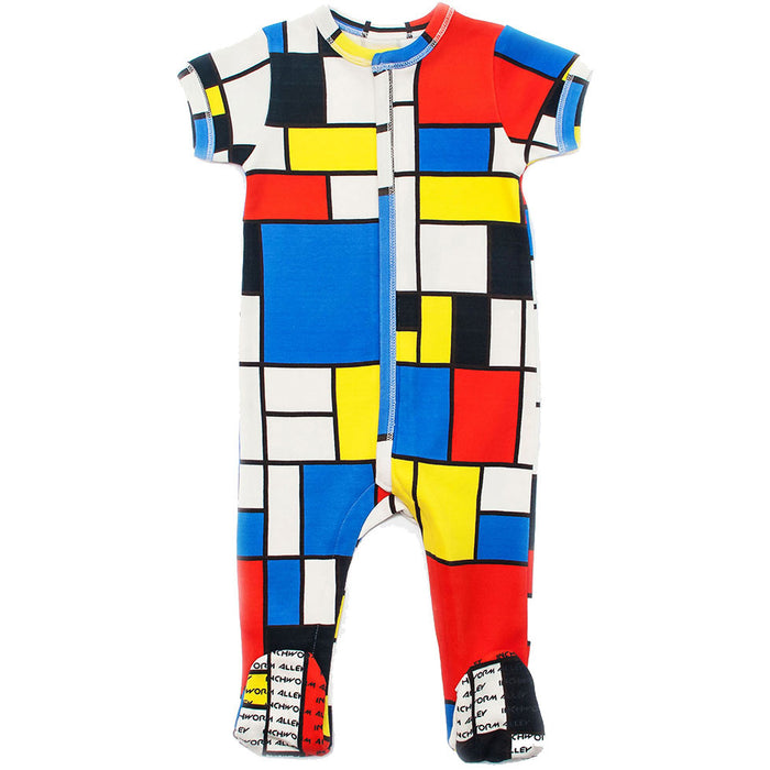 "Front view of short sleeve footie with all over print of Piet Mondrian's ""Composition II in Red, Blue, and Yellow"""