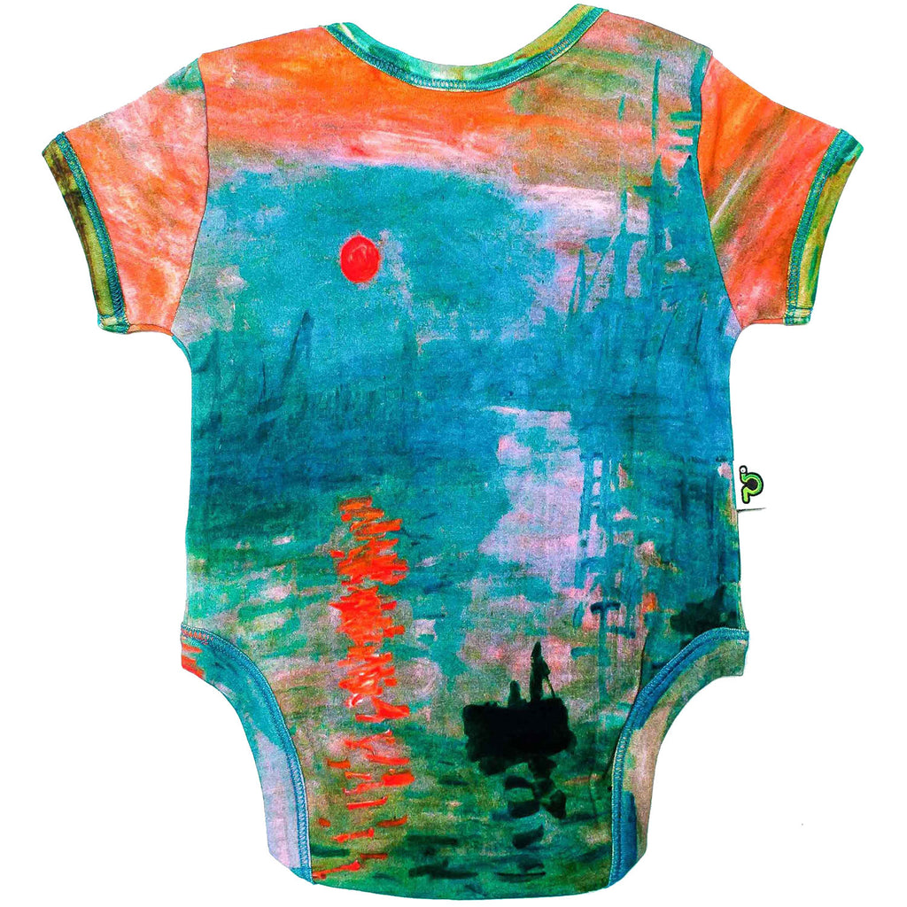 "Back view of short sleeve bodysuit printed with Claude Monet's ""Impression, Sunrise"" painting"