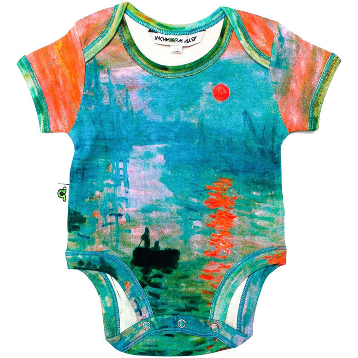 "Front view of short sleeve bodysuit printed with Claude Monet's ""Impression, Sunrise"" painting"