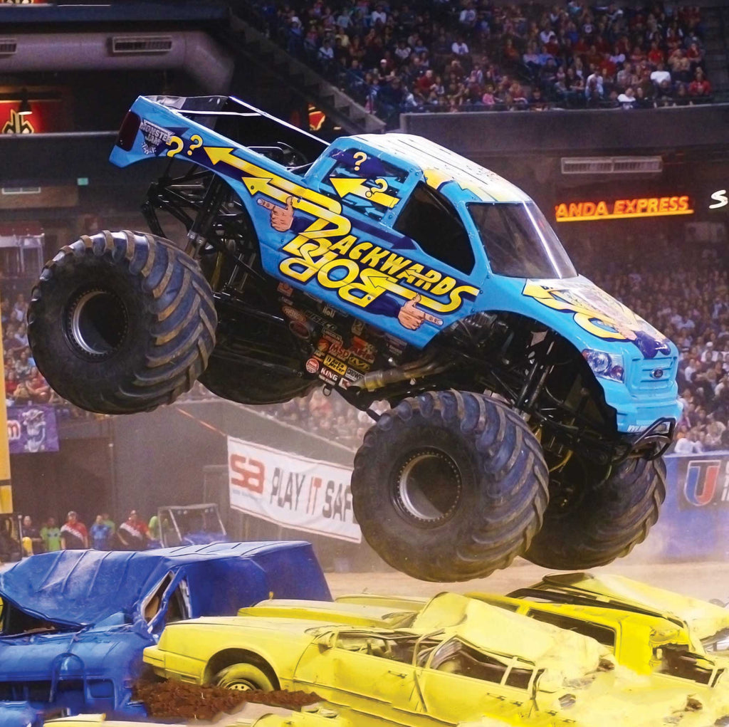 Image of a monster truck crushing cars