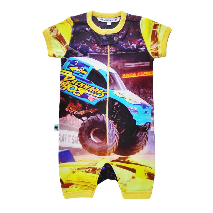 Short sleeve shorts romper with image of a monster truck crushing cars