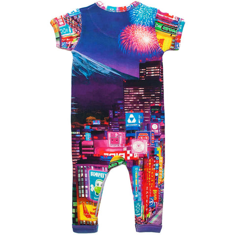 Back view of short sleeve romper with full legs with an image of Mt Fuji and Tokyo city at night