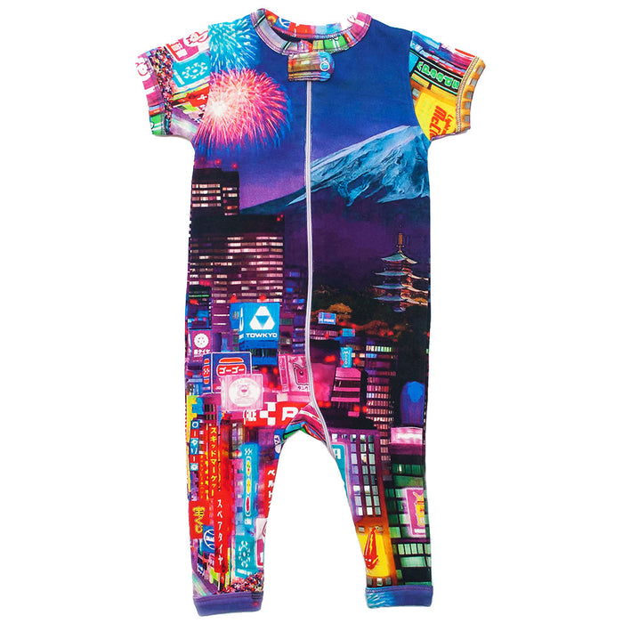 Front view of short sleeve romper with full legs with an image of Mt Fuji and Tokyo city at night