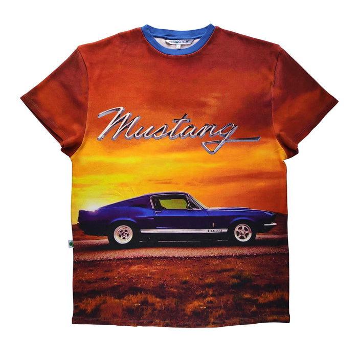Adult tee with the image of classic blue GT 500 Mustang against a sunset backdrop