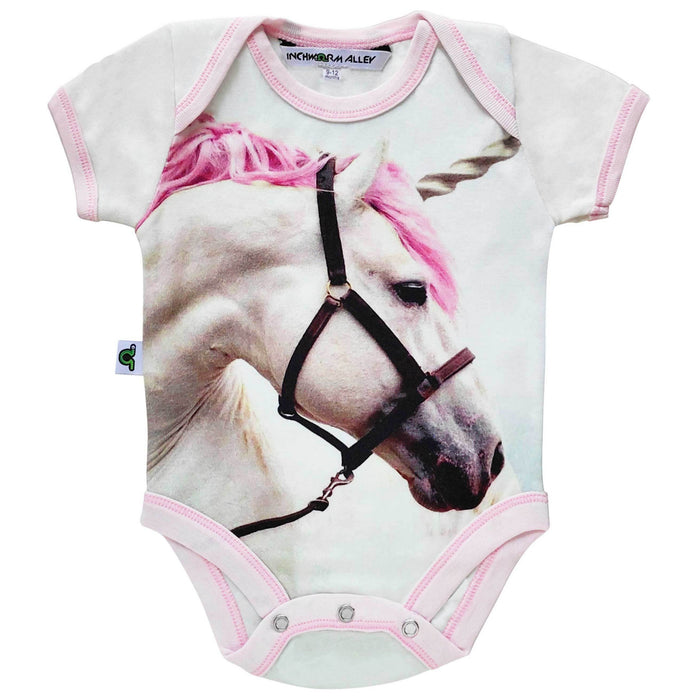 Short sleeve bodysuit onesie with a print of a dreamy white unicorn with a pink mane