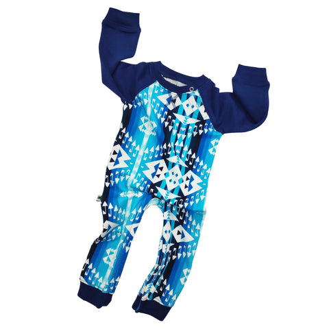 Full sleeve raglan romper with Navajo-inspired design in bright blue hues from sky blue to navy blue