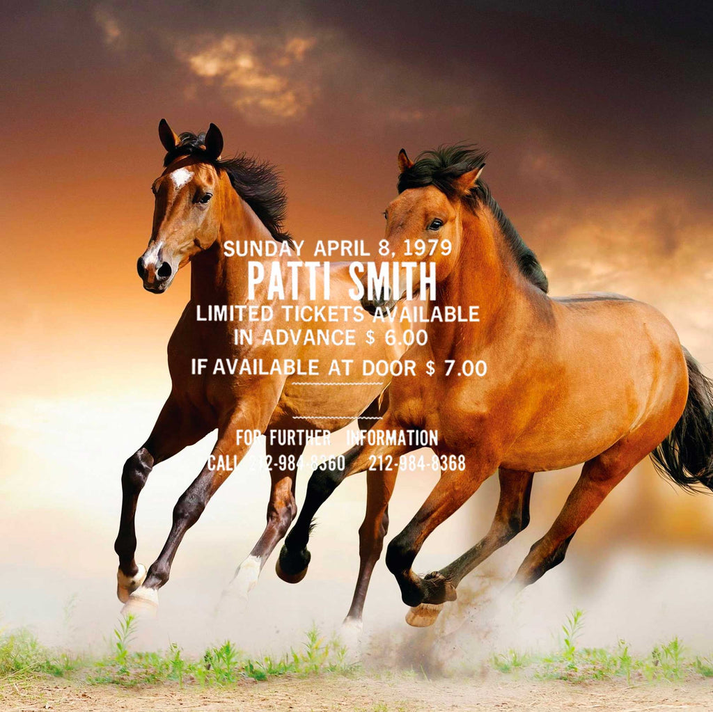 Image of running wild horses and the text from a Patti Smith concert flyer superimposed on top