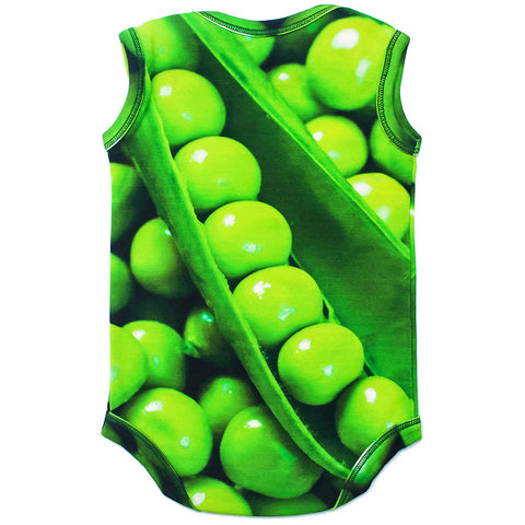 Back view of a tank bodysuit with all-over print of green peas in a pod