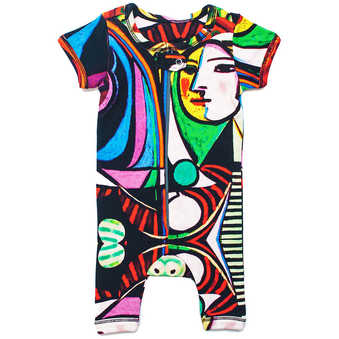 "Front view of a short sleeve romper with shorts printed with Picasso's ""Girl Before A Mirror"""