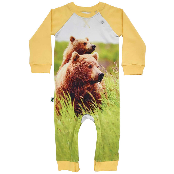 Raglan romper with image of mama bear and baby bear cub on her back in tall grass