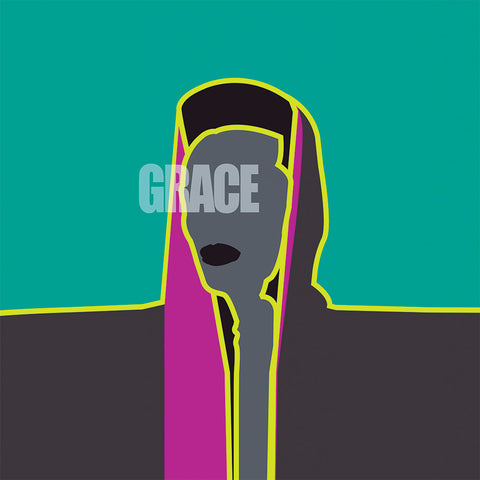 "Stylized illustration of Grace Jones and the word ""Grace"""
