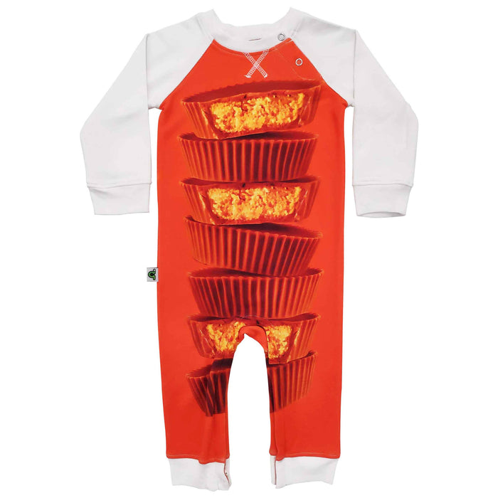Raglan romper with image of a stack of peanut butter cups