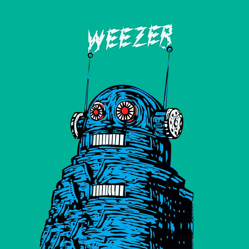 Illustrated robot image and the band name Weezer