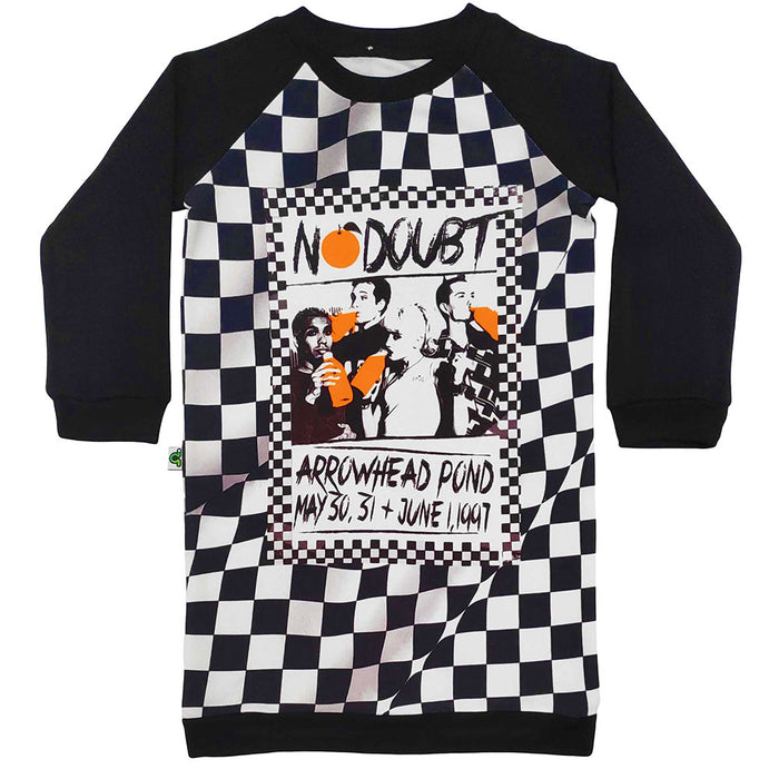Raglan sweatshirt dress with image of vintage No Doubt concert flyer and black/white checkerboard