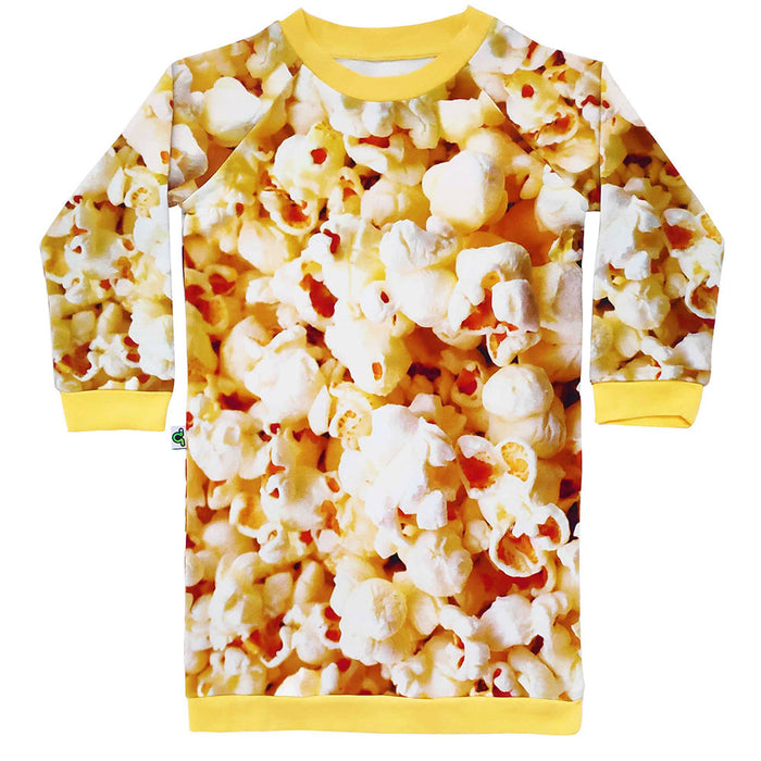 Raglan sweatshirt dress with all-over print of large scale popcorn