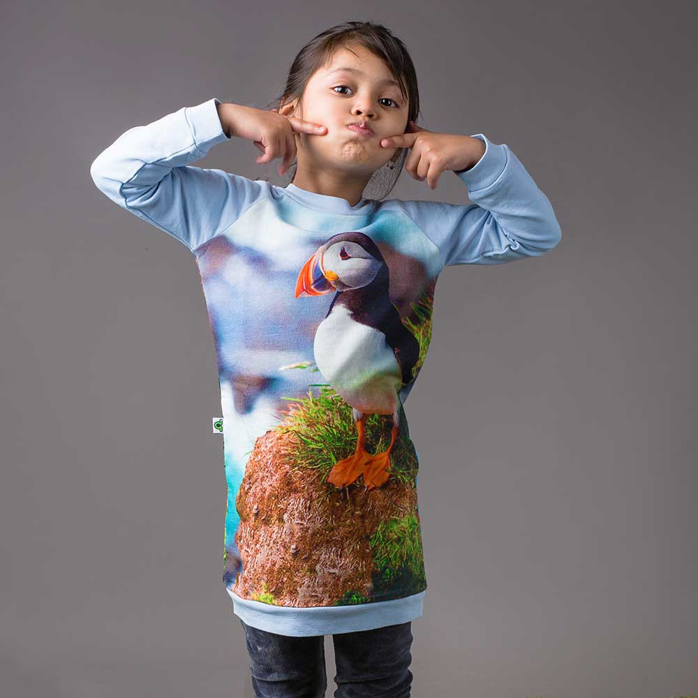 Girl wearing a raglan sweatshirt dress with image of puffin
