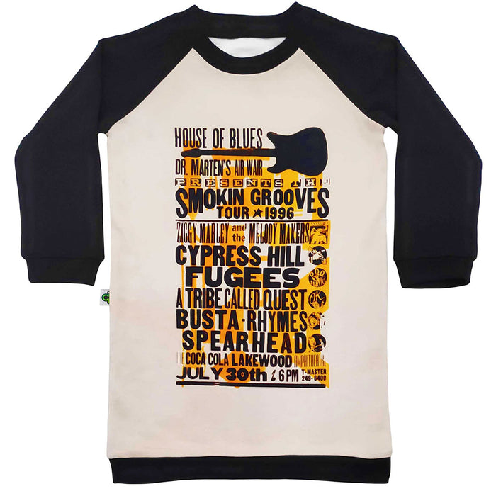 Raglan sweatshirt dress with image of the 1996 Smokin' Grooves Tour 1996 music festival flyer