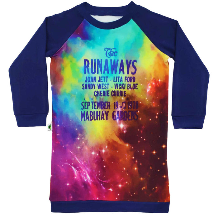 Raglan sweatshirt dress with image of vintage The Runaways concert flyer announcemement against a colourful star constellation background