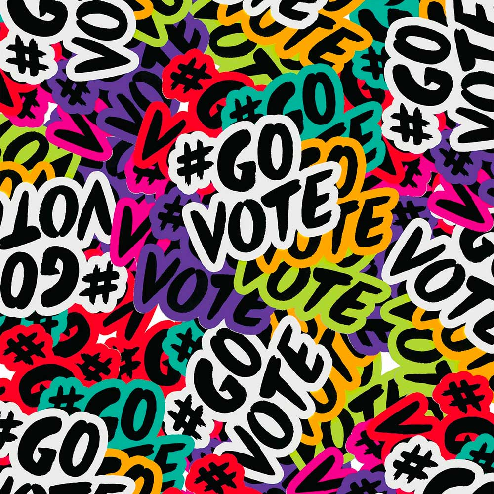 "Stylized overall design of a ""#GOVOTE"" motif"