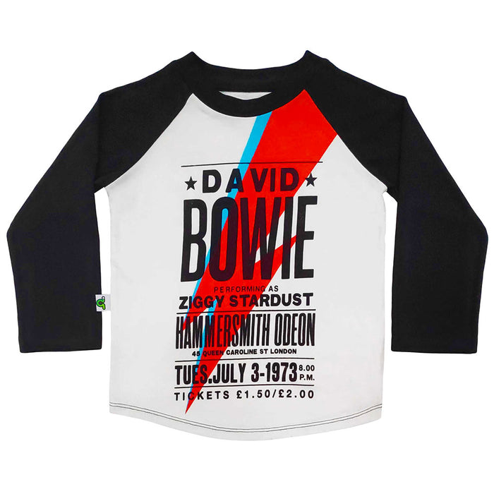 Raglan tee with image of vintage David Bowie concert flyer