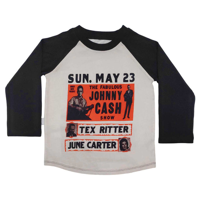 Raglan tee with an image of a vintage Johnny Cash concert flyer