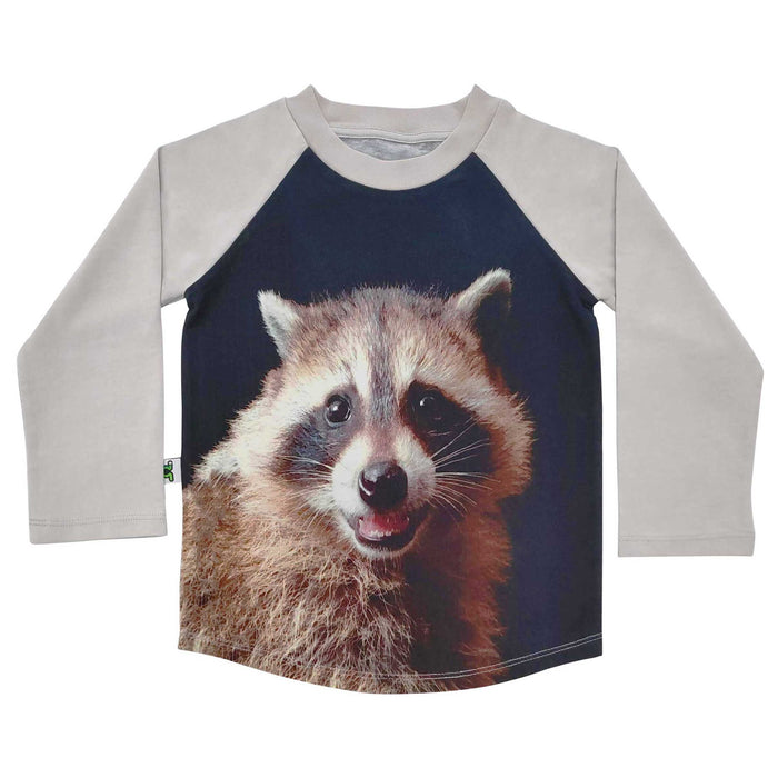 Raglan tee with image of a raccoon smiling
