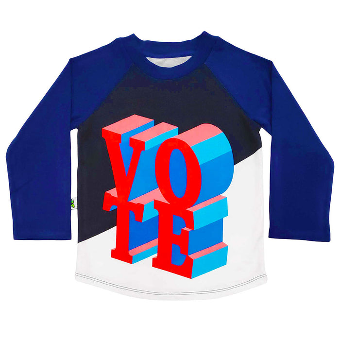 Raglan tee with illustrated VOTE text