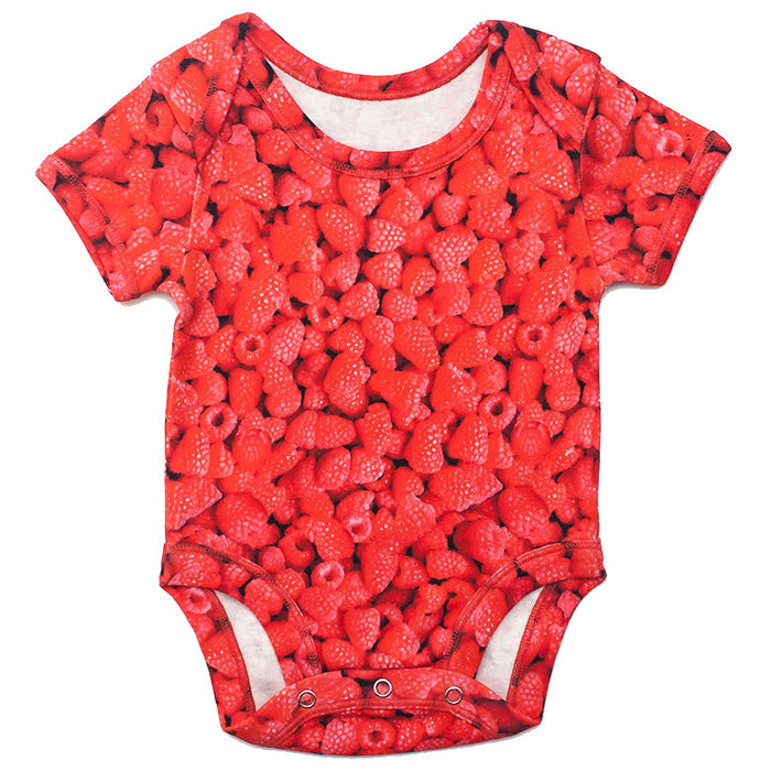 Front view of short sleeve bodysuit with an all-over print of red raspberries