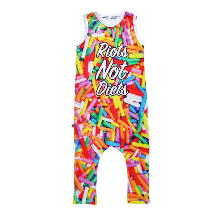 Tank Jumpsuit with all-over print of oversized candy sprinkles and the words Riots Not Diets across the front body